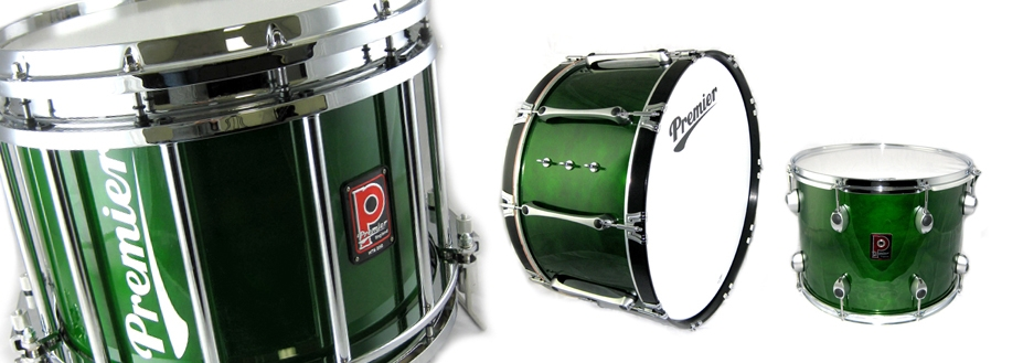'Emerald Green' lacquer pipe band drums